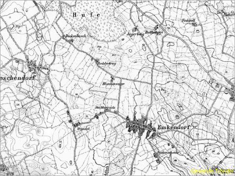 Karte der Gemeinde Tröndel um 1877